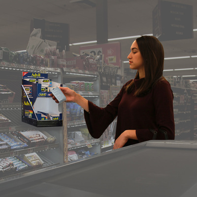 Woman Shopping from checkout Display